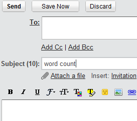 Gmail Subject Word count